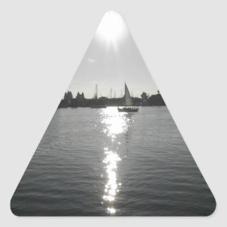 Sailing into the Sunset Triangle Sticker