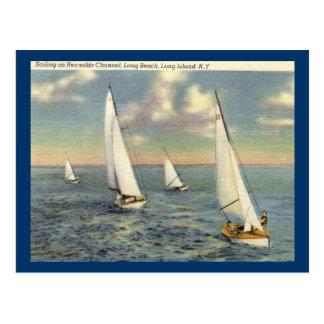 Sailing, Long Beach, Long Island Vintage Postcard