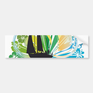 Sailing luxury yacht illustration bumper sticker