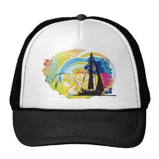 Sailing luxury yacht illustration hats