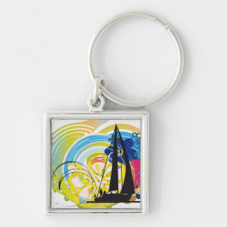 Sailing luxury yacht illustration Silver-Colored square keychain