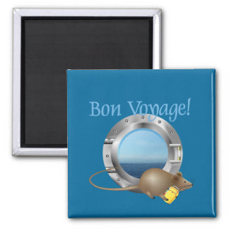Sailing Mouse on Vacation 2 Inch Square Magnet