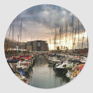 Sailing- multiple products/ Landscape at the Marin Classic Round Sticker