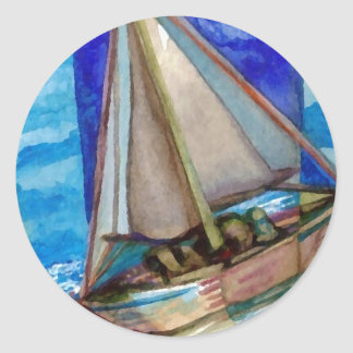 """""""Sailing Off The Edge of The Page""""  CricketDiane Classic Round Sticker"""