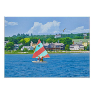 Sailing on a Lake in Northern Michigan Poster