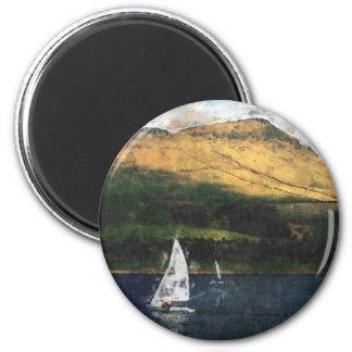 Sailing on Dovestone Reservoir 2 Inch Round Magnet