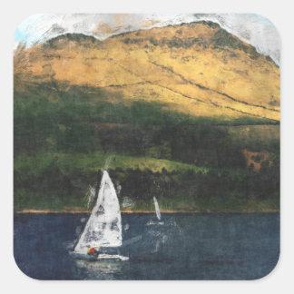 Sailing on Dovestone Reservoir Square Sticker
