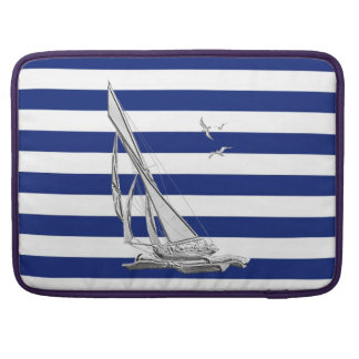 Sailing on Nautical Stripes Sleeve For MacBook Pro
