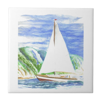Sailing on the Bay - Watercolor Pencil Tile