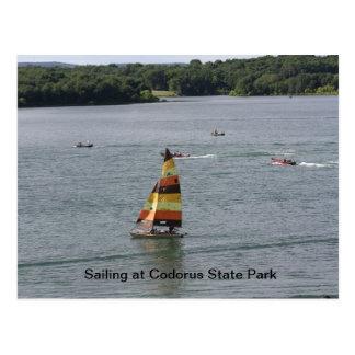 Sailing on the lake postcard
