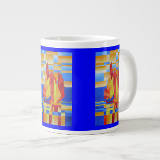 Sailing on the Seven Seas so Blue Cubist Abstract Giant Coffee Mug