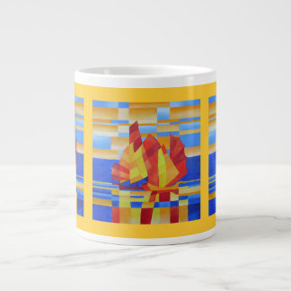 Sailing on the Seven Seas so Blue Cubist Abstract Large Coffee Mug