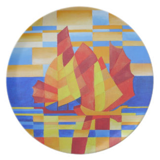 Sailing on the Seven Seas so Blue Cubist Abstract Melamine Plate