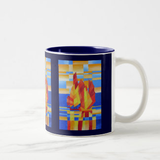 Sailing on the Seven Seas so Blue Cubist Abstract Two-Tone Coffee Mug