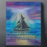 "Sailing on Tranquil Seas Plaque<br><div class=""desc"">Inspirational Desk Art for home or office! Features original art, &quot;Sailing on Tranquil Seas&quot; with Bible verse. Psalm 139:9-10, &quot;If I take the wings of the morning, and dwell in the uttermost parts of the sea; Even there shall Thy hand lead me, and Thy right hand shall hold me.&quot; ART:...</div>"