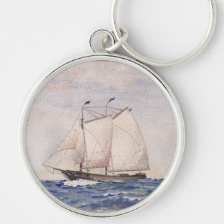 Sailing out of Nantucket Silver-Colored Round Keychain