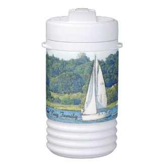 Sailing personalized text igloo cooler igloo beverage dispenser