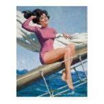 Sailing Pin Up Art Postcard