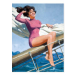 Sailing PinUp Postcard