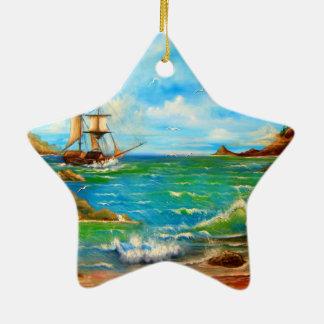 Sailing Pirate Ship Design Ceramic Ornament