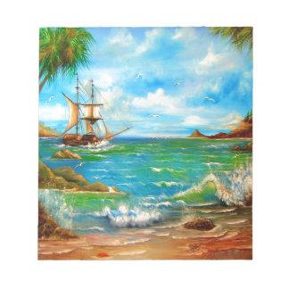 Sailing Pirate Ship Design Note Pad