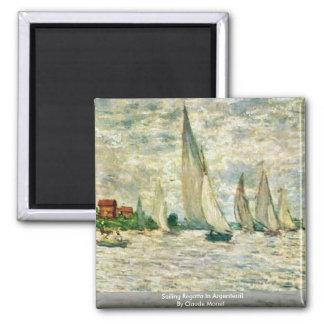 Sailing Regatta In Argenteuil By Claude Monet Fridge Magnets