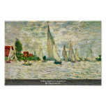 Sailing Regatta In Argenteuil By Claude Monet Poster