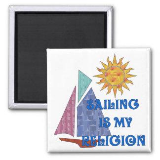 Sailing Religion 2 Inch Square Magnet