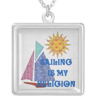 Sailing Religion Square Pendant Necklace