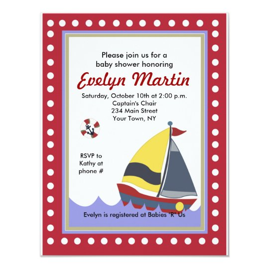 Sailing Sail boat Nautical Baby Shower Invitations