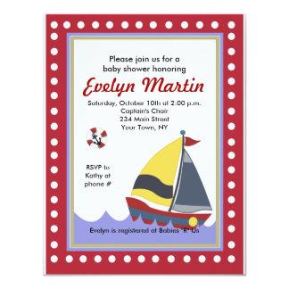 "Sailing Sail boat Nautical Baby Shower Invitations 4.25"" X 5.5"" Invitation Card"