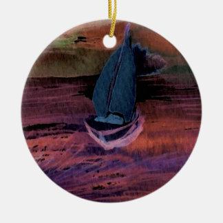 Sailing Sailboat Art Night Sailing a Quick Breeze Ceramic Ornament