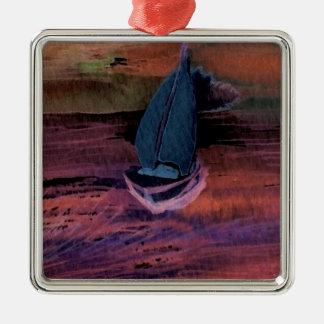 Sailing Sailboat Art Night Sailing a Quick Breeze Metal Ornament