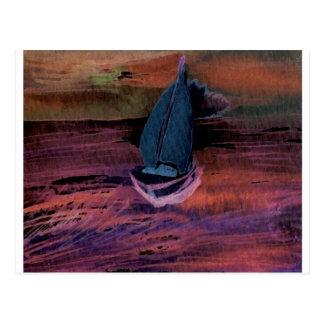 Sailing Sailboat Art Night Sailing a Quick Breeze Postcard