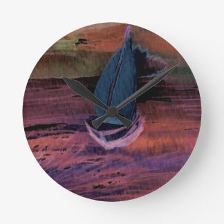 Sailing Sailboat Art Night Sailing a Quick Breeze Round Clock