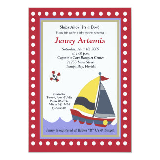 Sailing Sailboat Boat Nautical Baby Shower 5x7 Personalized Announcement
