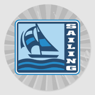sailing sailboat logo graphic classic round sticker