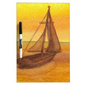 Sailing Sailboat Sunset Pretty Golden Sky Sails Dry Erase Whiteboards