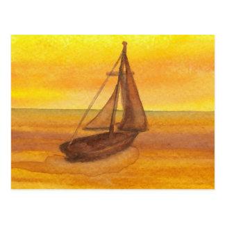 Sailing Sailboat Sunset Pretty Golden Sky Sails Postcard