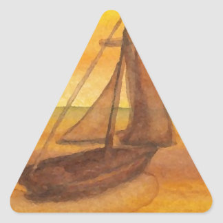 Sailing Sailboat Sunset Pretty Golden Sky Sails Triangle Stickers