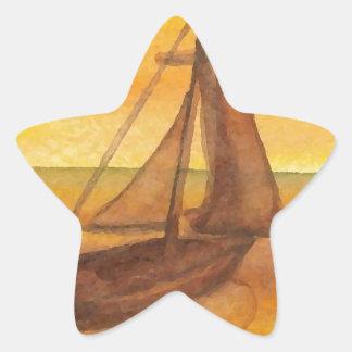 Sailing Sailboat Sunset Pretty Golden Sky Sails Star Stickers