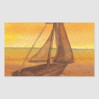 Sailing Sailboat Sunset Pretty Golden Sky Sails Sticker