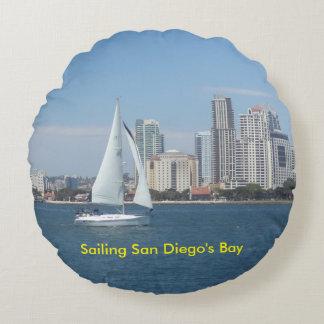 Sailing San Diego's Bay Round Cotton Pillow Round Pillow