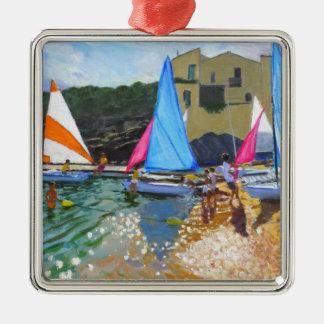 sailing school calella de palafrugall costa metal ornament