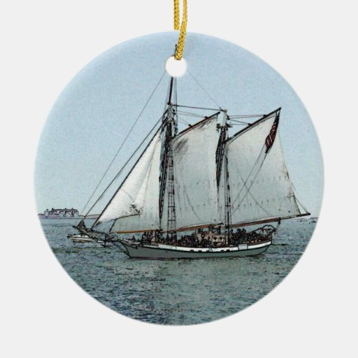 Sailing Schooner Glides on Calm Water Double-Sided Ceramic Round Christmas Ornament