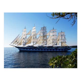 Sailing schooner postcard