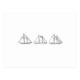 Sailing - Schooner Sailboats Postcard