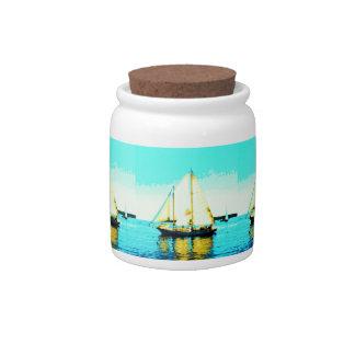 sailing schooners candy jar