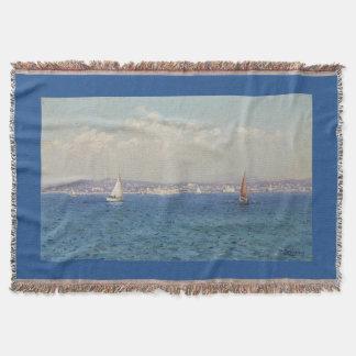 Sailing Sea Art Blue Throw Blanket