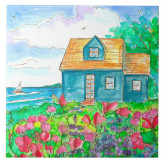 Sailing Seaside Cottage Sweet Peas Ceramic Tile